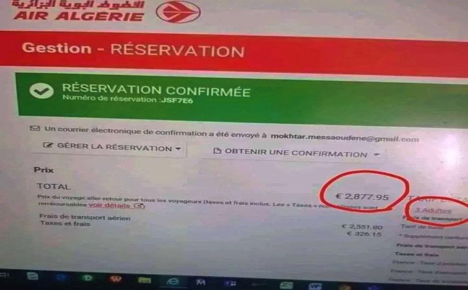 billet air-Algérie de 3 personnes